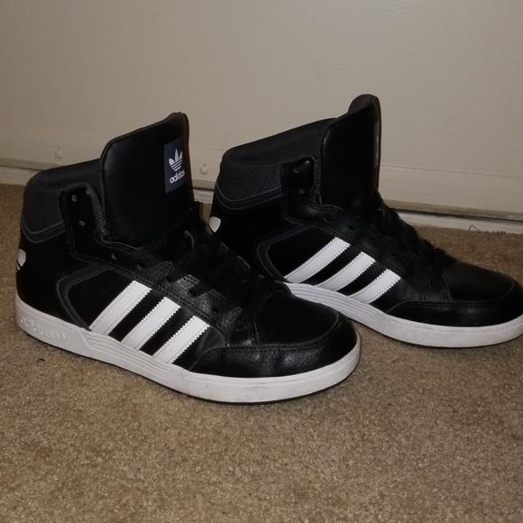 Black & White Adidas High Tops